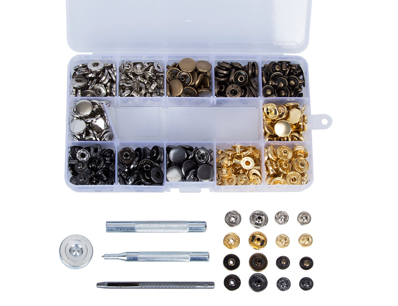 100 Set Copper Snap Fasteners Press Studs Poppers No Sewing Leather Rivets Kit Clothing Button with 4 Pieces Fixing Tool (12.5 mm) Hakkin