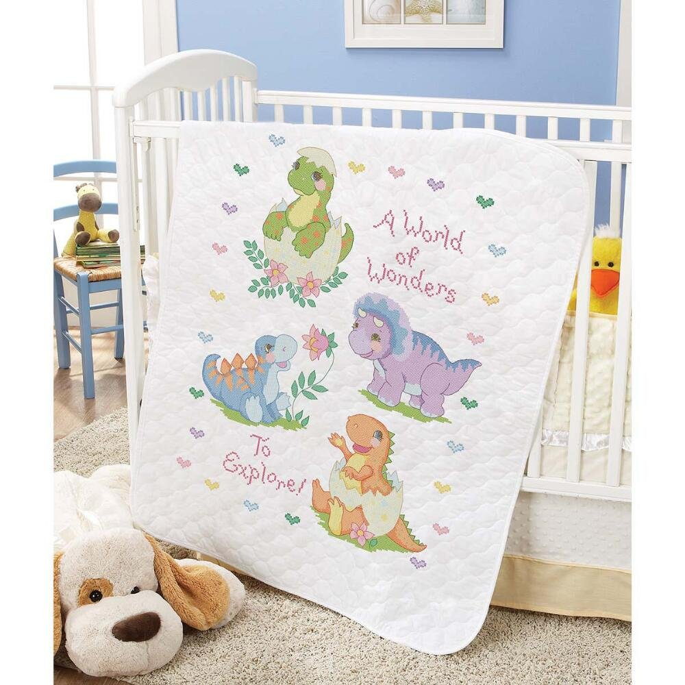 Baby by Herrschners Pre-Quilted A World of Wonders Baby Quilt Stamped Cross-Stitch Kit