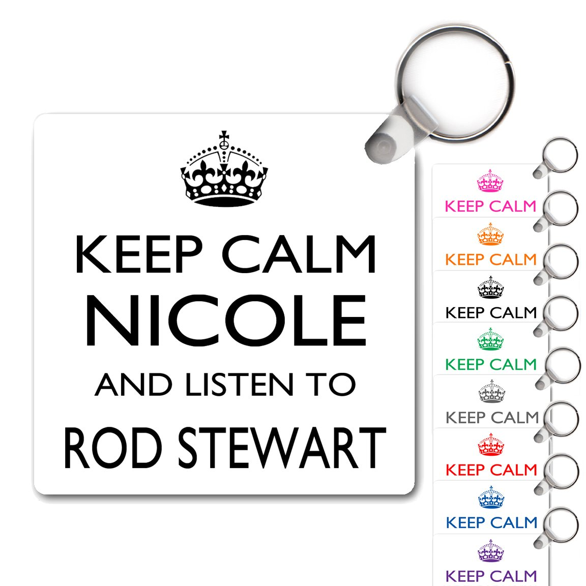 Personalised Square Acrylic Keyring Keep Calm /& Listen To Rod Stewart