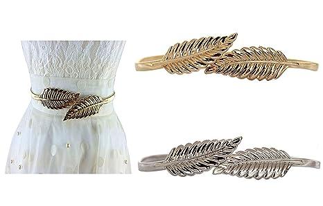 Lenhart, cinturón metálico elástico para mujer con cierre de