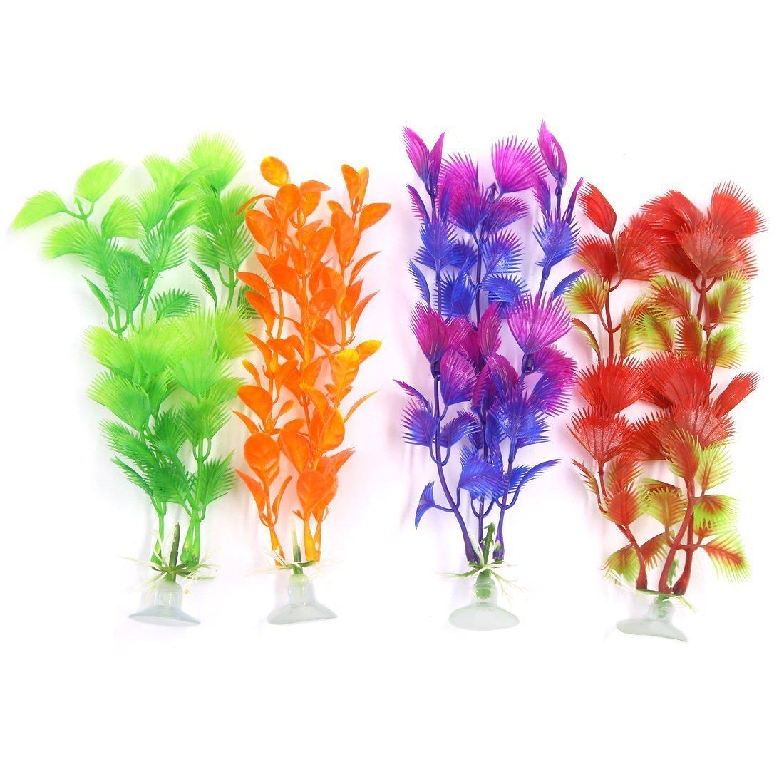 1Pc a16071400ux0473 4 Piece Aquarium Ornament Plastic Decoration Plant with Suction Cup
