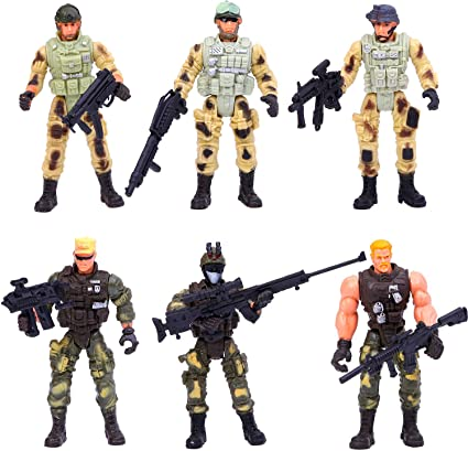 Military  3.75 inch action figure play set with gear New in package 3+