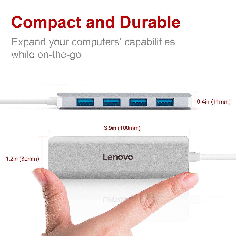Lenovo 4 Ports USB 3.0 Hub Transfert de donn/ées 5Gbps Ultra Fin Portable en Aluminum Compatible avec P/ériph/érique USB A