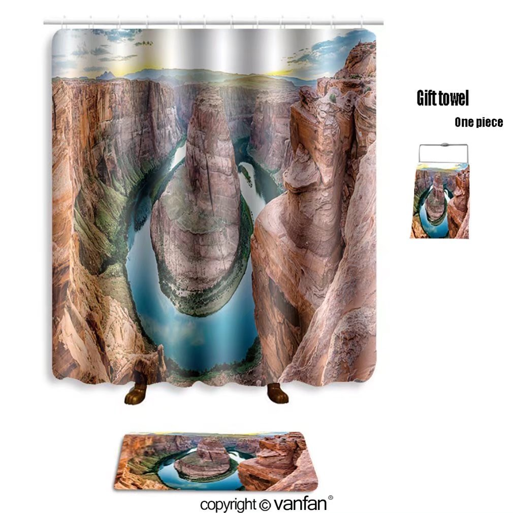 vanfan bath sets with Polyester rugs and shower curtain Horseshoe Bend in the USA panorama_637056492 shower curtains sets bathroom 54 x 78 inches&23.6 x 15.7 inches(Free 1 towel and 12 hooks) durable service