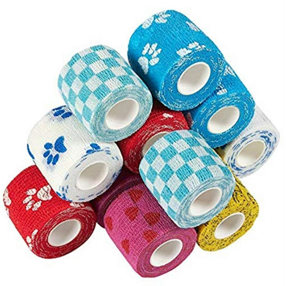 Stock Show 12Packs Pet Horse Dog Cat Animal Wound Non Woven Cohesive Bandage Self Adherent Wrap Tape Pet Finger Arm Leg Bandage Tapes Vet Wraps, Random Color by Stock Show