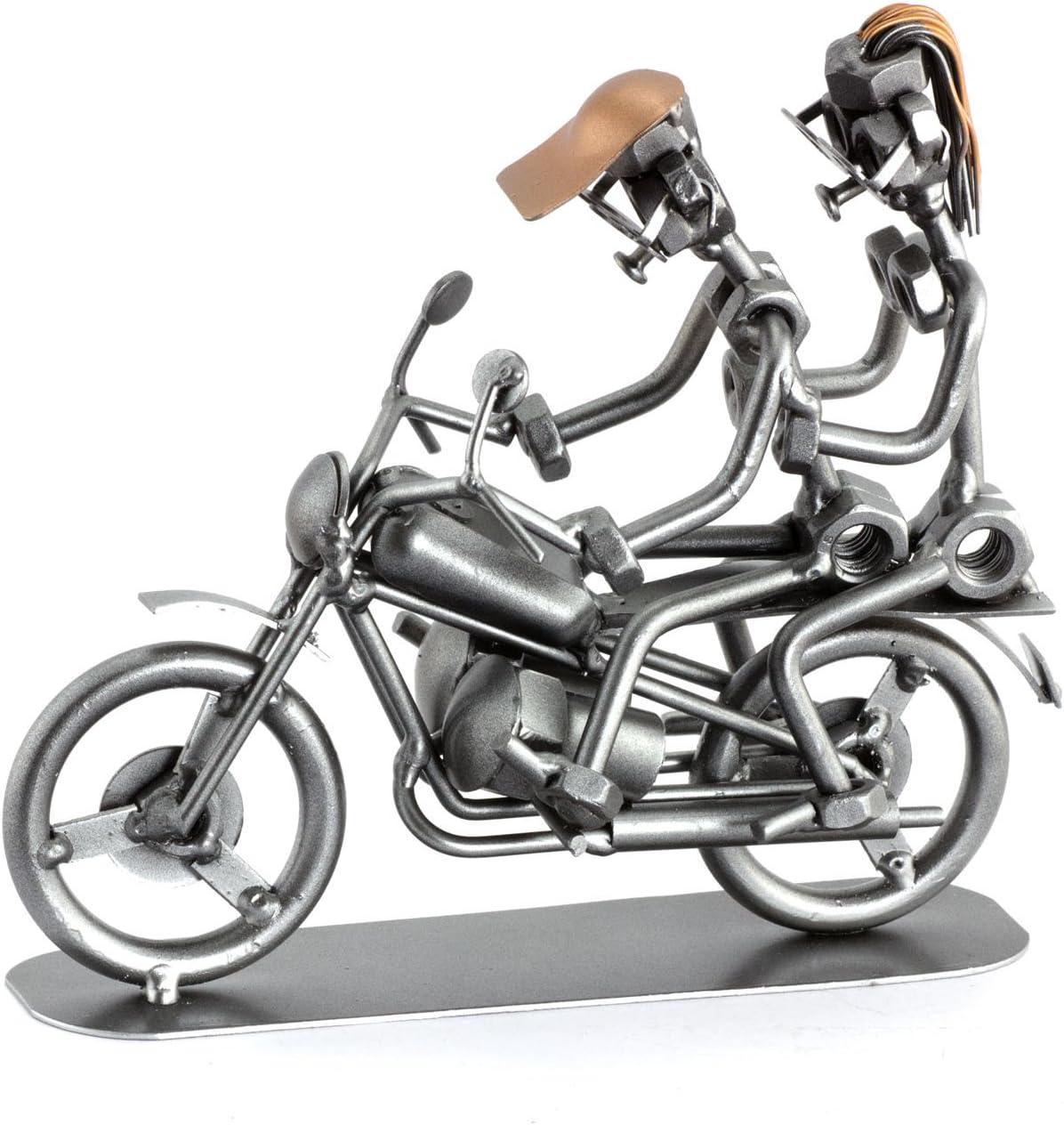Steelman24 I Figurine en m/étal Duo /À Moto I Made in Germany I Id/ées Cadeaux I Sculpture d/'Acier I Hommes de m/étal