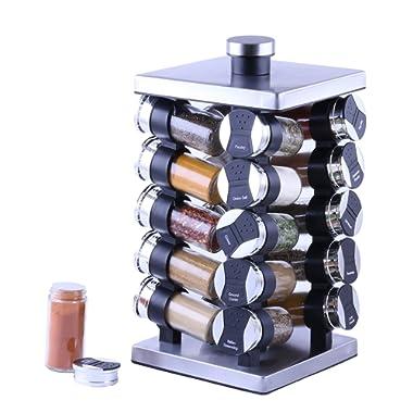 Orii GSR3920 Rotunda 20 Jar Spice Rack, silver, black