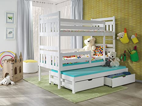 Bunk Beds Meggi 3 Ft White Triple Wooden Pine Bunk Bed With Mattresses And Storage Drawers White Blue Pink Available Amazon De Kuche Haushalt
