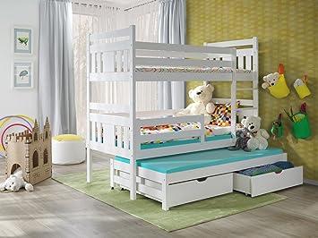 Furniture4house Bunk Beds Meggi 3ft White Wooden Children Triple
