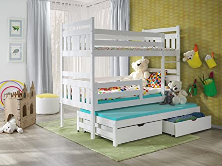 Exceptional BUNK BEDS MEGGI 3FT WHITE WOODEN CHILDREN TRIPLE BUNK BEDS WITH MATTRESSES  AND STORAGE DRAWERS/