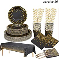 Beauenty 96 Pieces Black Gold Party Supplies Party Tableware Foil Paper Plates Napkins Cups Straws for Weddings…