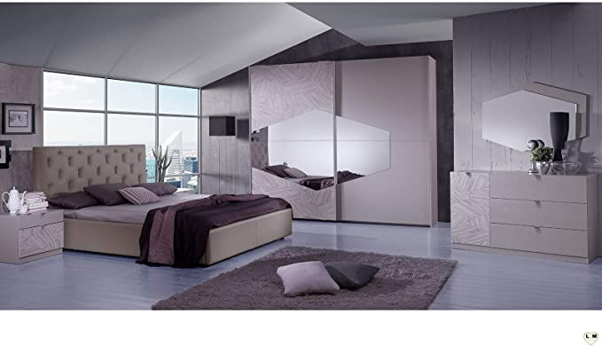 LIGNEMEUBLE Terence - Juego de Dormitorio con Armario de 2 Puertas correderas + Cama 160/200 + 2 mesitas de Noche + cómoda + Espejo: Amazon.es: Hogar