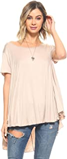 product image for Simplicitie Women's Short Sleeve Loose Fit Flare Flowy T Shirt Tunic Top - Regular and Plus Size - Made in USA