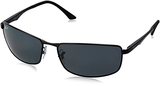 Ray-Ban Men's 0rb3498 Polarized Rectangular Sunglasses, Matte Black, ...