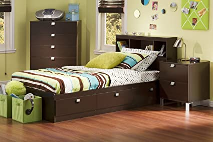 online store 8b54a de309 South Shore Cakao Kids 3-Piece Bedroom Set with Bookcase Headboard, Twin,  Chocolate