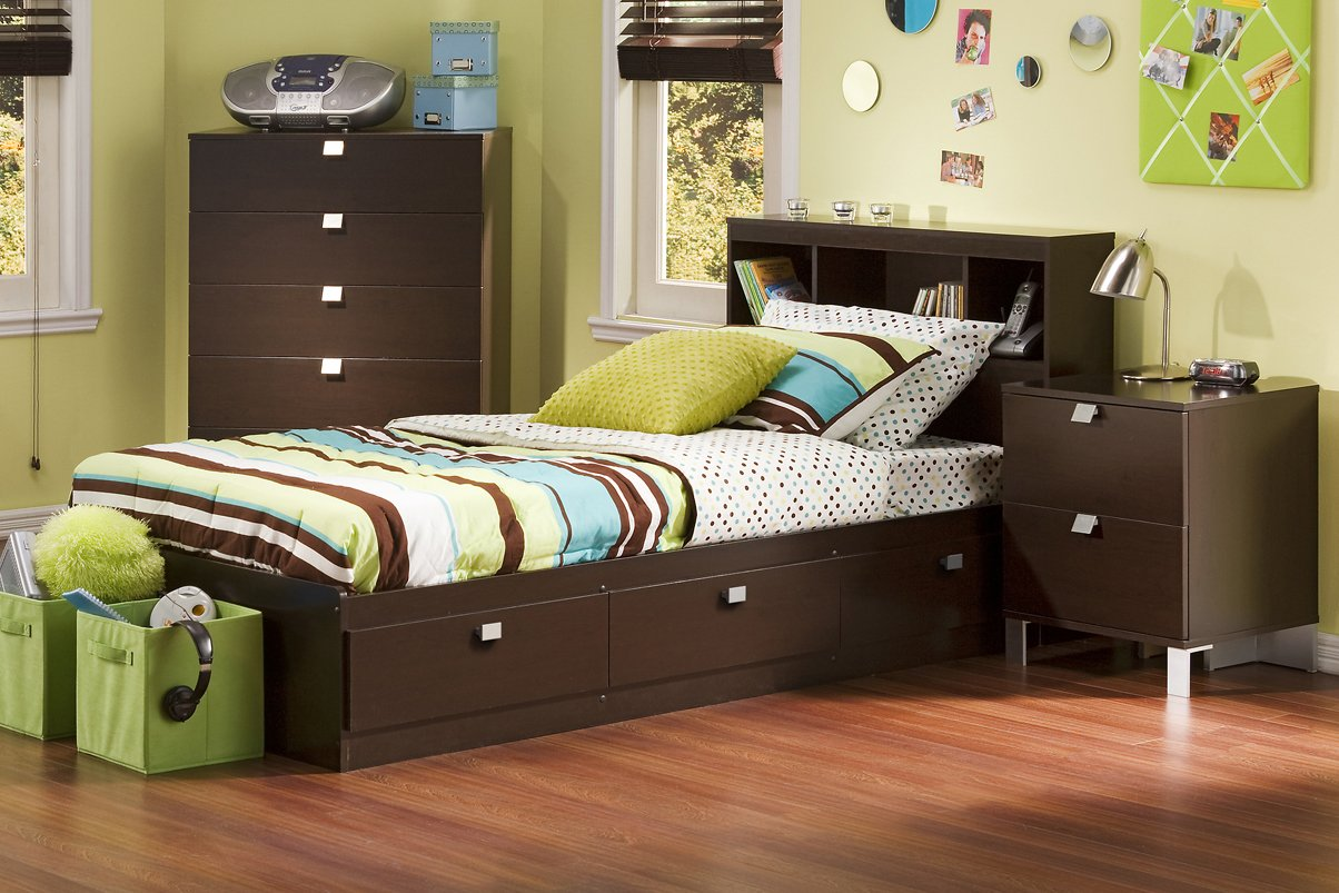 South Shore Cakao Kids 3-Piece Bedroom Set with Bookcase Headboard, Twin, Chocolate by South Shore