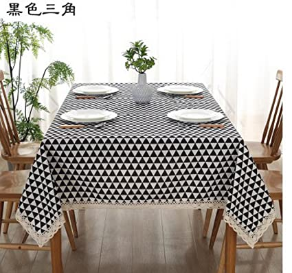 Geranjie Cotton And Linen Tablecloth Cloth Pastoral Lattice Rectangular Cup  Table Cover Japanese Style Nordi