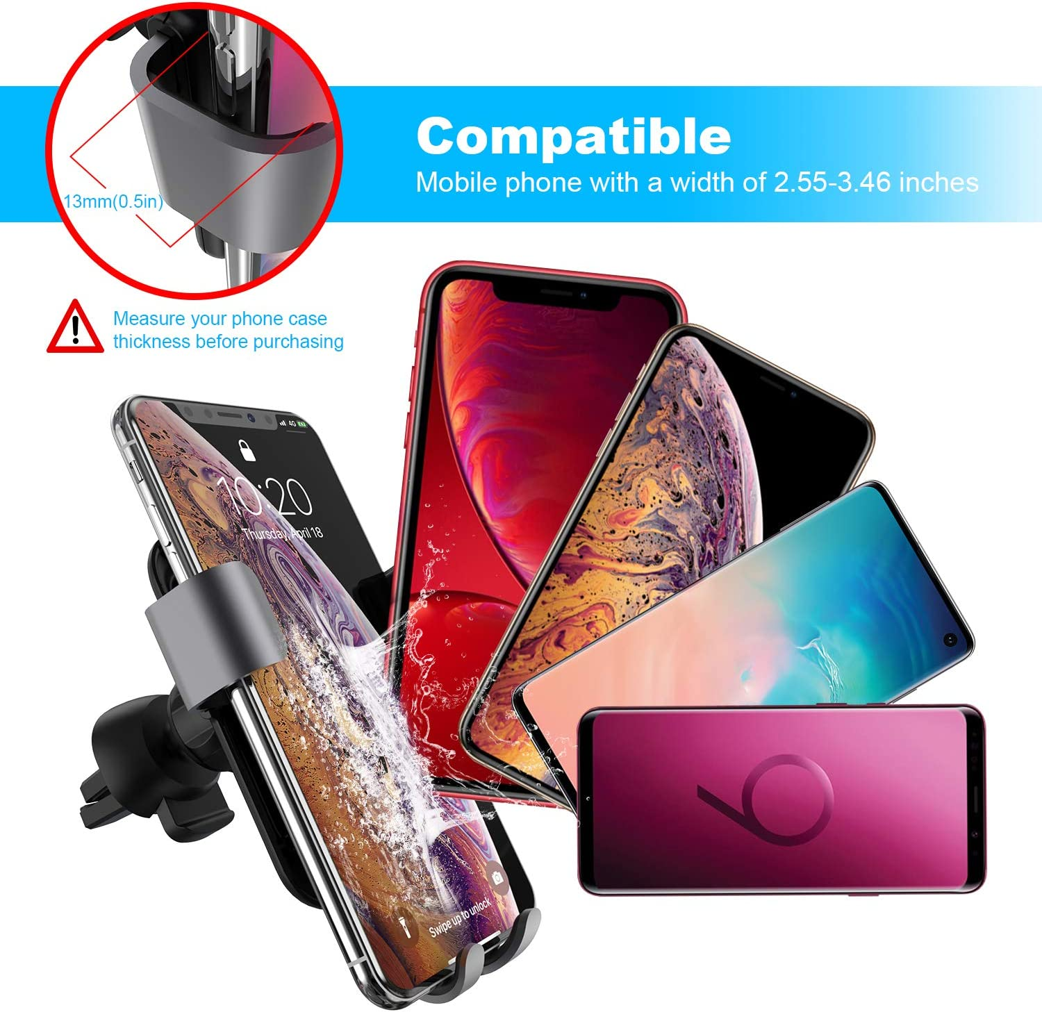 Fast Charging Wireless Car Mount with Quick Charging 3.0 Car Charger Car Phone Mount for iPhone Xs MAX//XR//XS//X//8//8 Plus Samsung Galaxy S10//S9//S8 Air Vent Holder Included Squish Wireless Car Charger