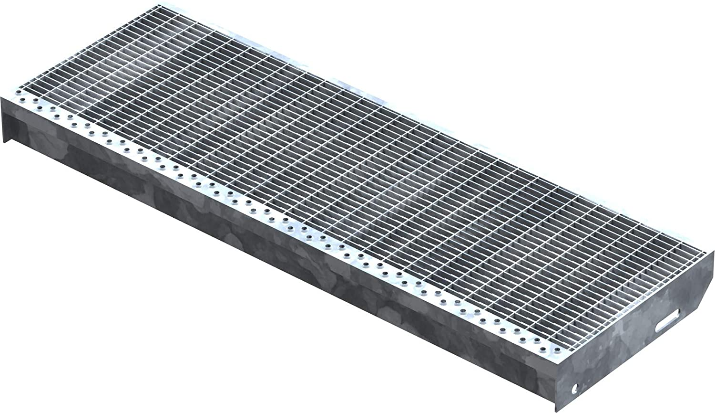 Fenau Fluchttreppen geeignet//Anti-Rutsch-Wirkung MW: 30 mm // 10 mm Stahl-Treppenstufe nach DIN-Norm Vollbad-Feuerverzinkt Gitterrost-Stufe Ma/ße: 1200 x 270 mm XSL R11