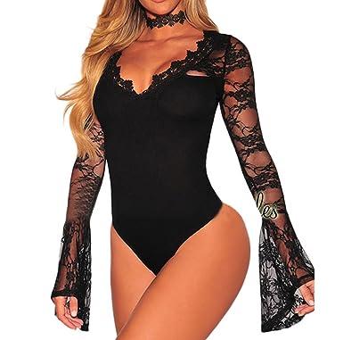 6c9e42d6c0 comeondear Women s Long Sleeve Sexy Lace Lingerie Teddy Deep V Neck Lace  Bodysuit Mini Bodysuit
