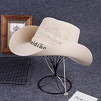 ZHANGXJ Vintage Hombre Mujer Sombrero de Vaquero de Paja Occidental Verano Ancho Brim Sombrero de Playa Protección UV al…