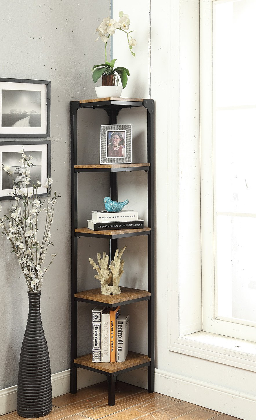 Vintage Brown Finish Black Metal Wall Corner 5-Tier Bookshelf Bookcase Accent Display Shelf by eHomeProducts