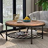 P PURLOVE Easy Assembly Hillside Rustic Natural Coffee Table with Storage Shelf for Living Room (Brown)