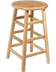 "Diversified Woodcraft 5024K Oak Wood Stool with Square Post Legs, 14"" Width x 24"" Height x 14"" Depth"