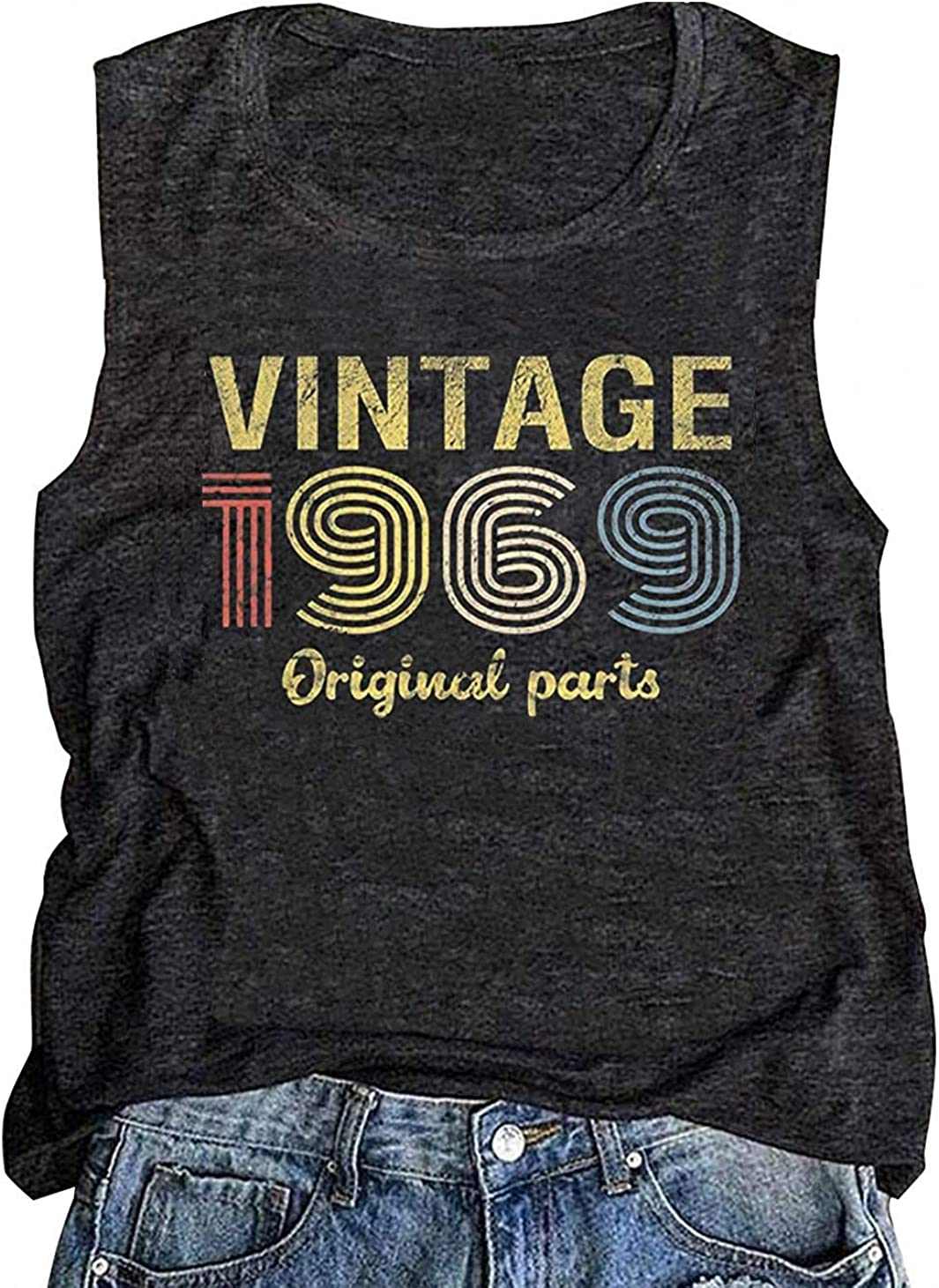 VINTAGE 1969 Ladies Fitted Crystal T Shirt 50th BIRTHDAY all sizes CHOOSE DATE