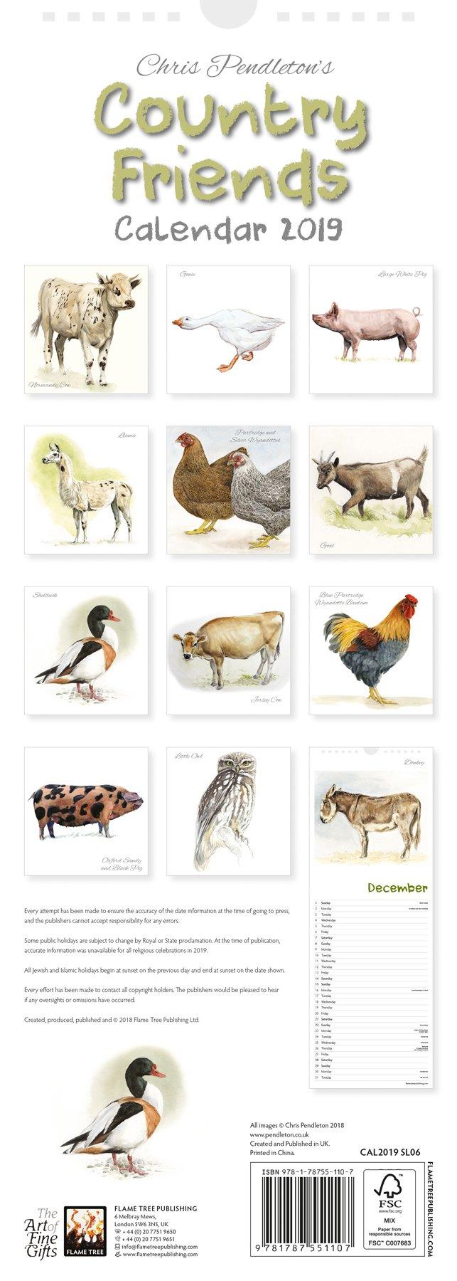 efa9f70e2d5 Chris Pendleton Country Friends slim calendar 2019 (Art Calendar)  Flame  Tree Studio  9781787551107  Amazon.com  Books