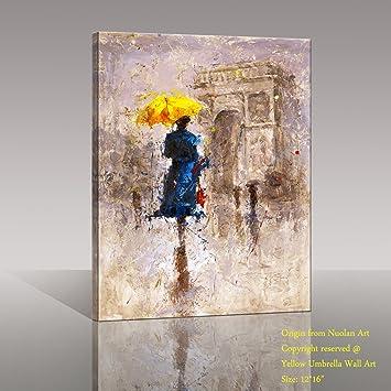 Canvas wall art canvas print 24x36 large size yellow umbrella walking on