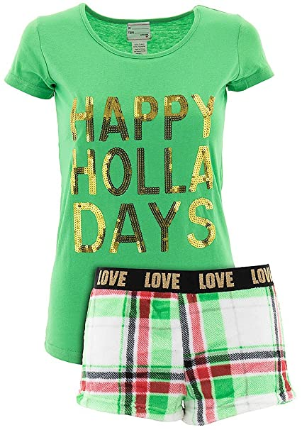 not a morning person juniors happy holla days shorty christmas pajamas l at amazon womens clothing store