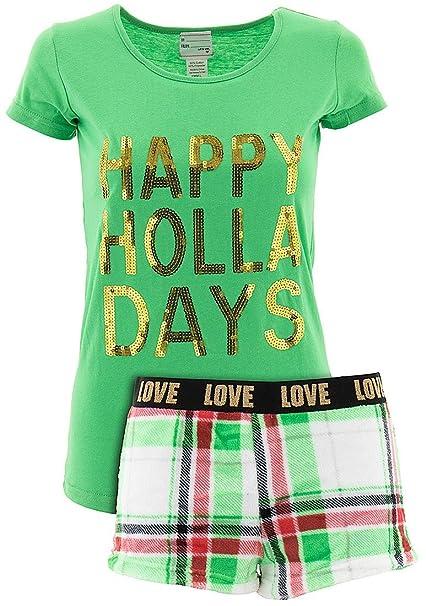 not a morning person juniors happy holla days shorty christmas pajamas l at amazon womens clothing store - Juniors Christmas Pajamas