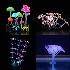 lychee Glowing Effect Artificial Silicone Plant Lotus Flower with Leaves Mushrooms for Fish Tank Decoration Aquarium Ornament