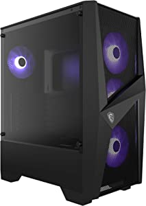 MSI MAG Forge 101M Mid Tower Gaming Computer Case Black, 4X 120 mm RGB PWM Fan, 1-6 ARGB Hub, Tempered Glass Panel, ATX, mATX, Mini-ITX