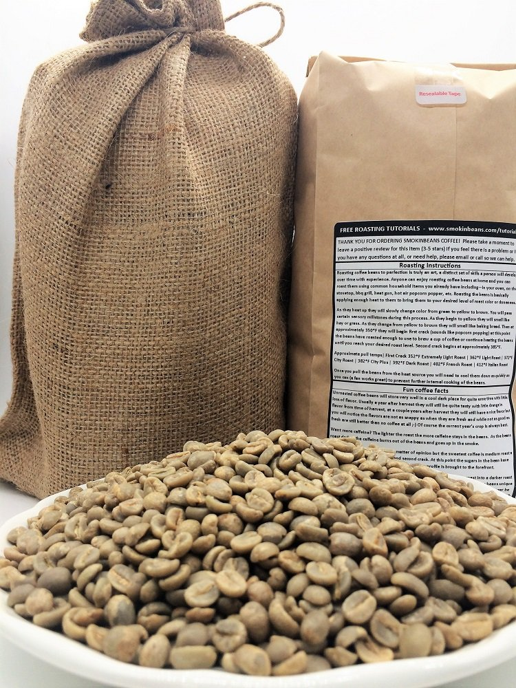20 LBS – SIGNATURE DESSERT BLEND IN A BURLAP BAG– Beans From: Indonesia + Central America + Africa, Complex, Delicious, Specialty-Grade Green Unroasted Whole Coffee Beans, for Home Coffee Roasters