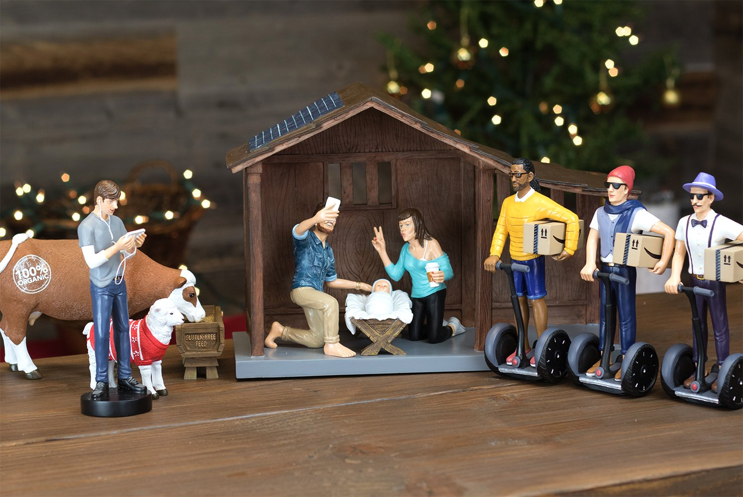 "Nativity Figurine and Stable Set - Hipster Nativity Scene - Holiday Gifts - Christmas Gifts - Millennial Christmas - Each Piece 100% Hand Painted and Made of Durable Polyresin - 7"" Figurines - Full Se"