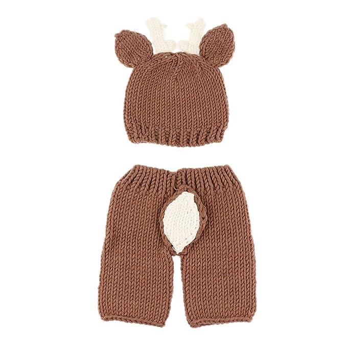 MagiDeal Uncinetto Maglia Vestito Pantaloni con Cappelli Costume Di  Fotografia Foto Props per Bambini Neonato - 29dba109e04a