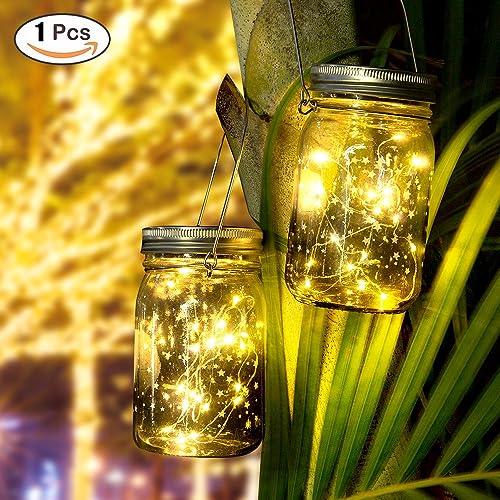Star Solar Garden Lights - Mason Jar Lights - Led Water Proof Outdoor Fairy Lights,Hanging Lantern for Garden, Courtyard, Wedding, Party, Bar, Cafe,Christmas,Wall,Table,Tree,Fence, etc.