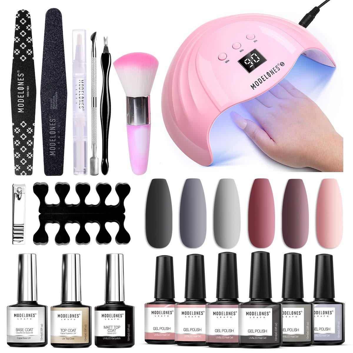 Gel Nail Polish Kit Modelones Gel Nail Polish Kit with U V light 48W Nail Lamp 6 Nude Grey Pink Gel Nail Polish Set, Matte Gel Top Coat, Gel Base and Top Coat(0.34 fl.oz each), Gel Manicure Nail Tools : Beauty