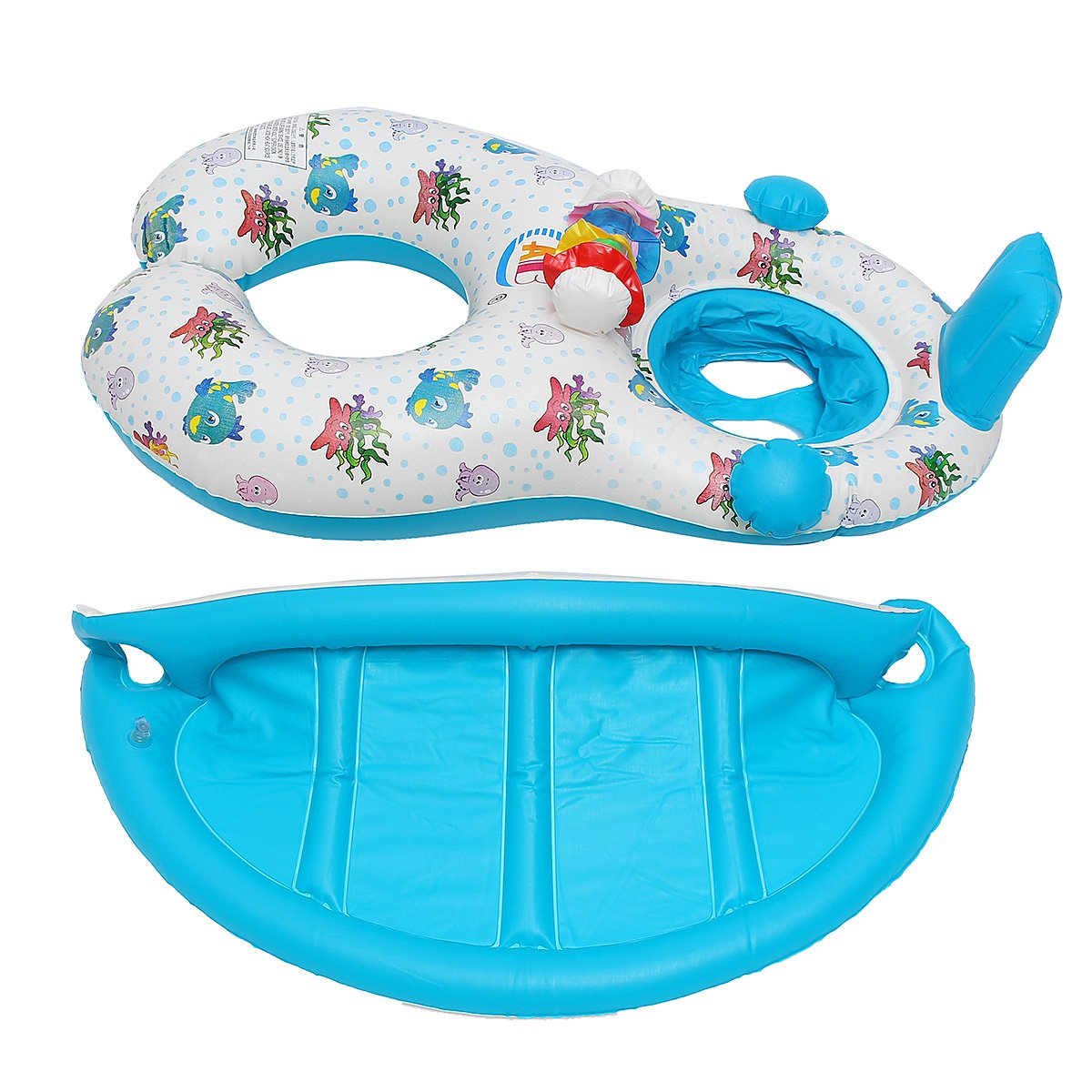 Water Sports WD Inflatable Mother Baby Swimming Ring Swim Pool Water Seat Float with Canopy Sunshade by Wincom Dishman (Image #8)