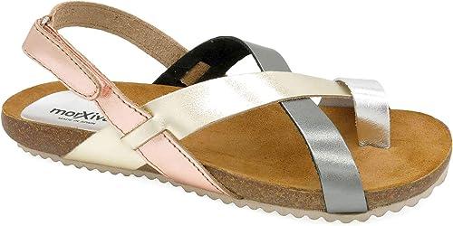 Morxiva Damen Echt Leder Sandalen mit Kork Sohle und Leder Fußbett schöne Bequeme offene Klettverschluss Sommer Schuhe für Frauen und Mädchen 830