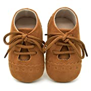 Dukars Baby Boys Girls Soft Sole Moccasins Lace-up Infant Toddler Shoes Sneaker (Brown 2)