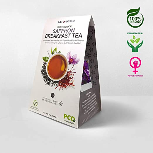 Saffron Breakfast Tea - Certified Organic, Non-GMO, Ethically Sourced, Freshly Harvested- Containing Premium Red Saffron Stigmas by Safaroma - Naturally Made Sachets -Created in Canada & Packed in USA