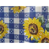 """Plaid Sunflower Poly Cotton Print Fabric 58"""" Wide by The Yard Blue"""
