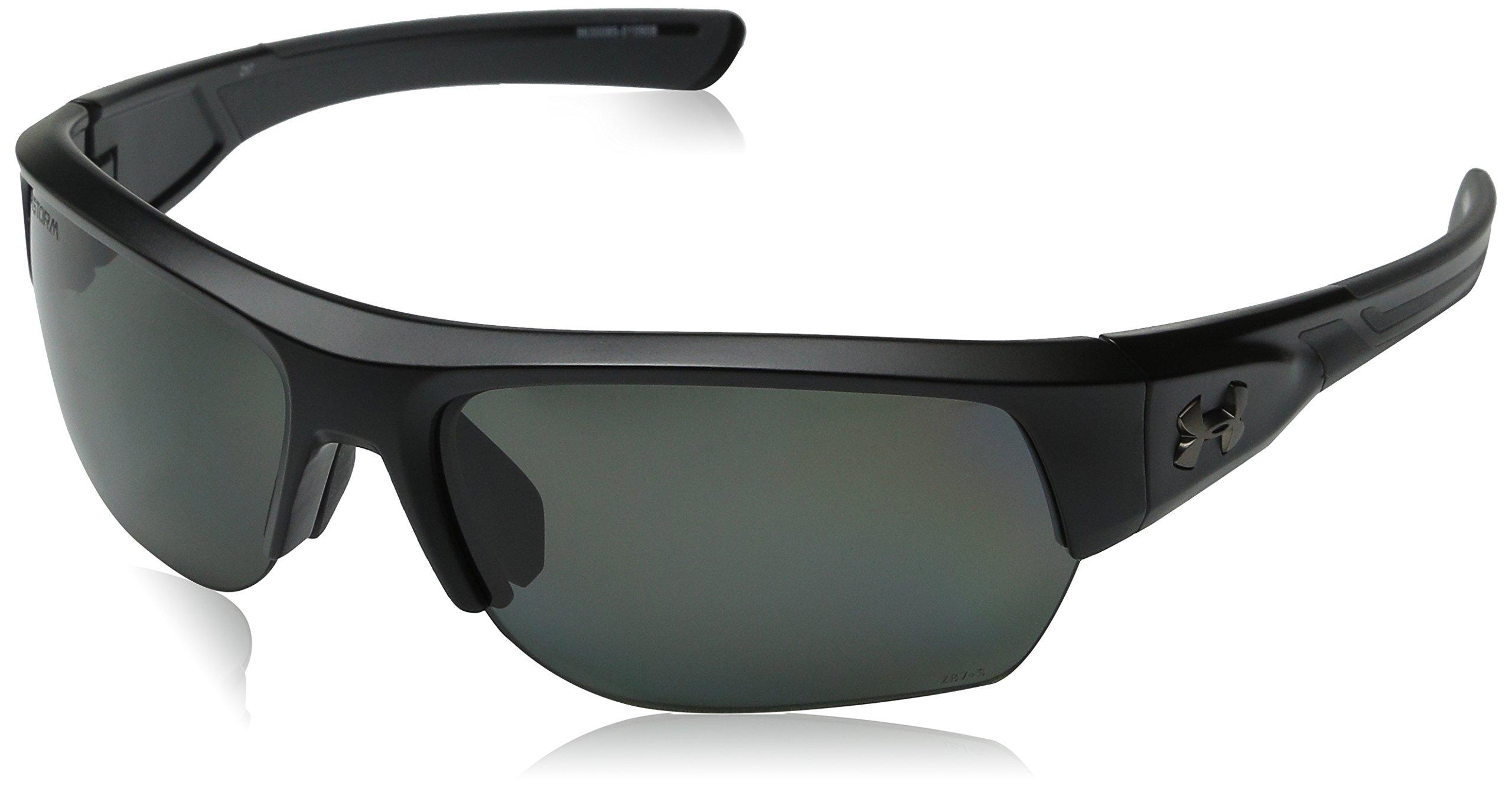 Under Armour Sunglasses Rectangular, UA Big Shot Storm (ANSI) Satin Black/Charcoal Frame/Gray Polarized Lens, 37 mm