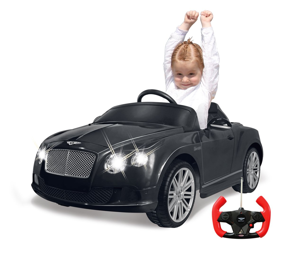 Jamara 405015 - Ride-on Ride-on Ride-on Bentley GTC schwarz 27Mhz 6V - Kinderauto, leistungsstarker Motor und Akku, bis zu 90 Min. Fahrzeit, Ultra-Gripp Gummiring am Antriebsrad, Bremse, Sound, Licht ein / aus 5d7289