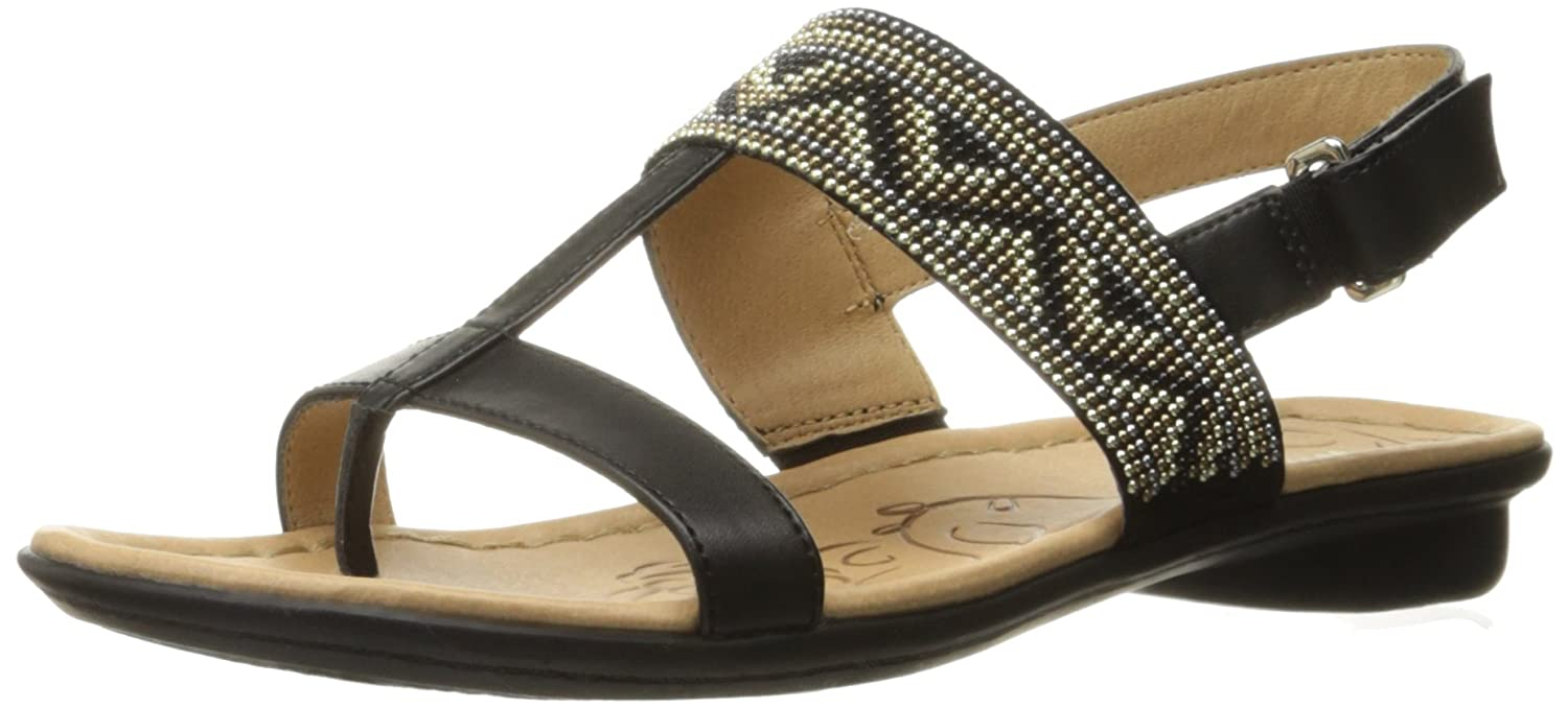 Naturalizer Women's Wheeler Flat Sandal B01H3ZVBVG 8 B(M) US|Black
