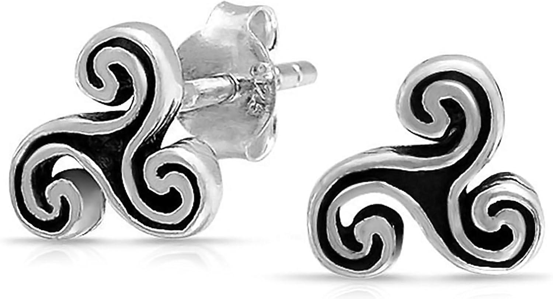 Tiny Celtic Irish Trinity Triskele Symbol Spiral Stud Earrings For Men For Women Oxidized 925 Sterling Silver (7MM)