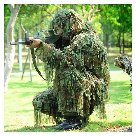 GRZP Traje Ghillie, 3D Camuflaje Sniper Woodland Ropa y Pantalones Militares Ocultos Caza en la